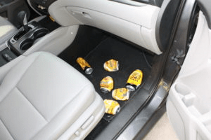 beer cans in car