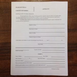 Affidavit to Initiate Dangerous Dog Proceedings