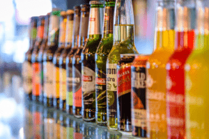beers and wines for sale in a bar