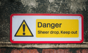 warning sign used for fall protection