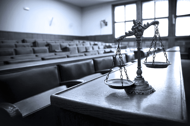 courtroom and justice scales
