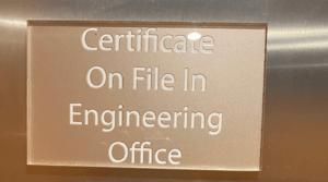 elevator certificate