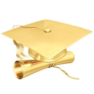 gold cap and diploma